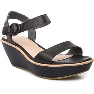 Camper Damas Strap Wedge Sandal Black Leather 41